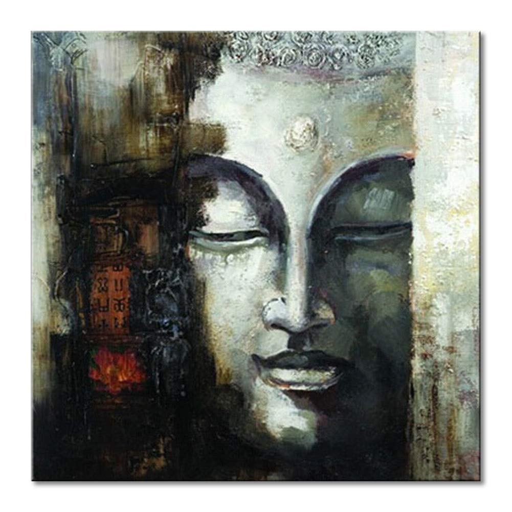 Seekland Art Contemporary Canvas Art Large Handmade Abstract Buddha Face Oil Painting Modern Wall Deco Artwork Unframe 48 W X 48 H