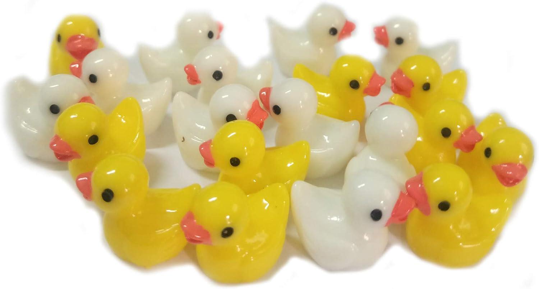Ruzucoda Smilesky Miniature Duck Figure Animal Toys Fairy Garden Office Decorations White Yellow 20 PCS