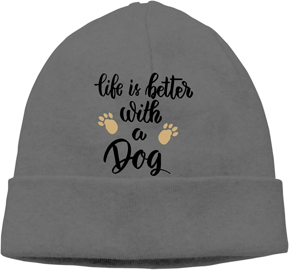 GDSG5/&4 Life is Better with A Dog Unisex Thick Running Beanie Skull Cap