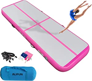 ALIFUN Air Inflatable Track Inflatable Gymnastics Tumble Track Mat 10ft 13ft 16ft 20ft 23ft 26ft Air Floor Yoga Mat for Outdoor Sports Training Cheerleading