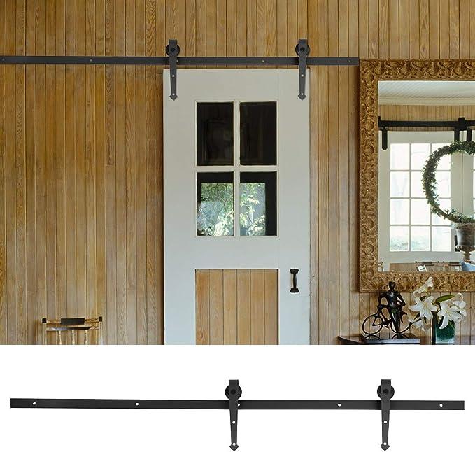 Herraje para Puerta Corredera, Kit de Accesorios para Puertas Deslizante Armarios, Piezas de Metal Rieles Rodillo Rueda de la Puerta (6FT(183cm)): Amazon.es: Bricolaje y herramientas