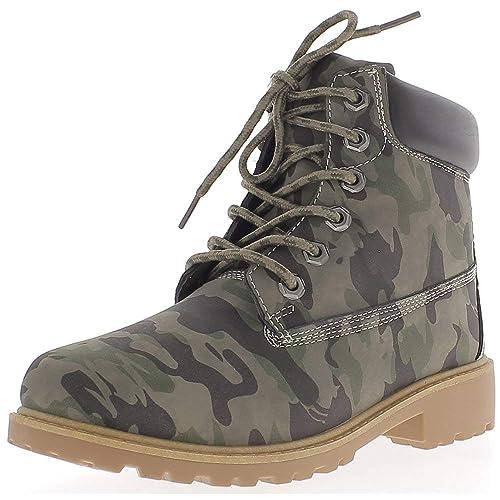 Botines Mujer Militar de Camuflaje a 3 cm y tacón Tachonado: Amazon.es: Zapatos y complementos