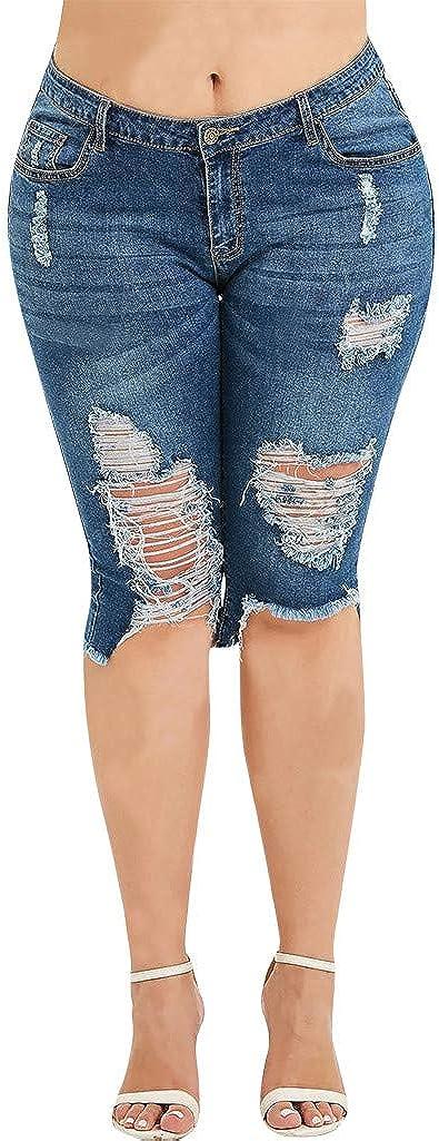 AMhomely - Pantalones Vaqueros para Mujer, Estilo Casual ...