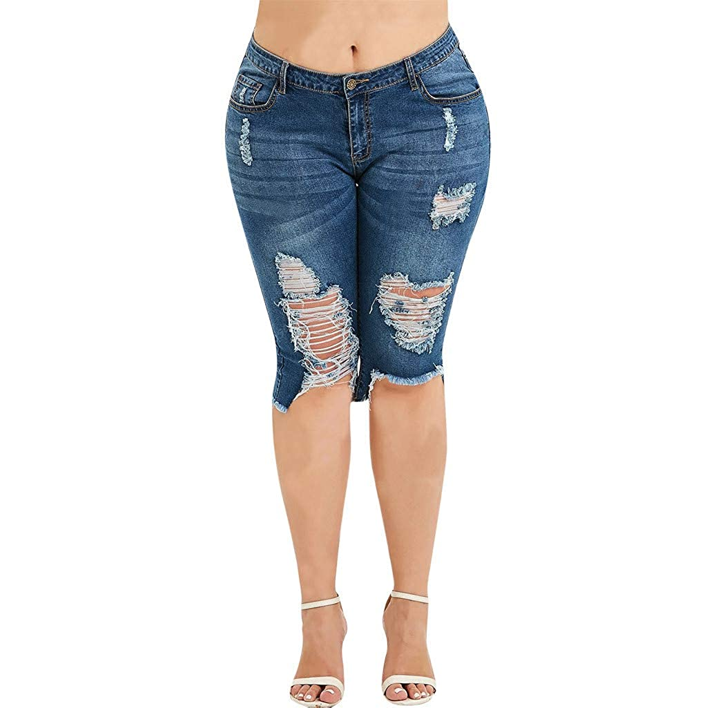 HCFKJ Moda para Mujer Pantalones Rotos hasta La Rodilla ...