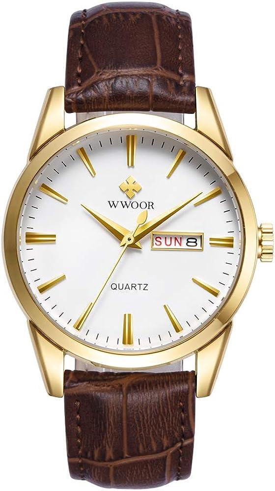 WWOOR Store Reloj de Pulsera de Piel para Hombre, clásico, de Moda, analógico, de Cuarzo, Resistente al Agua, con Fecha, para Negocios, Casual (Dorado y Negro)