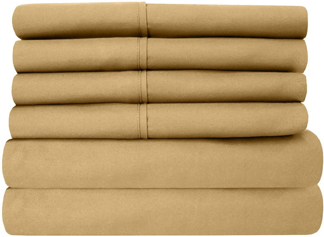 Sweet Home Collection 6 Piece 1500 Thread Count Brushed Microfiber Deep Pocket Sheet Set - 2 Extra Pillow Cases, Great Value,Queen,Camel