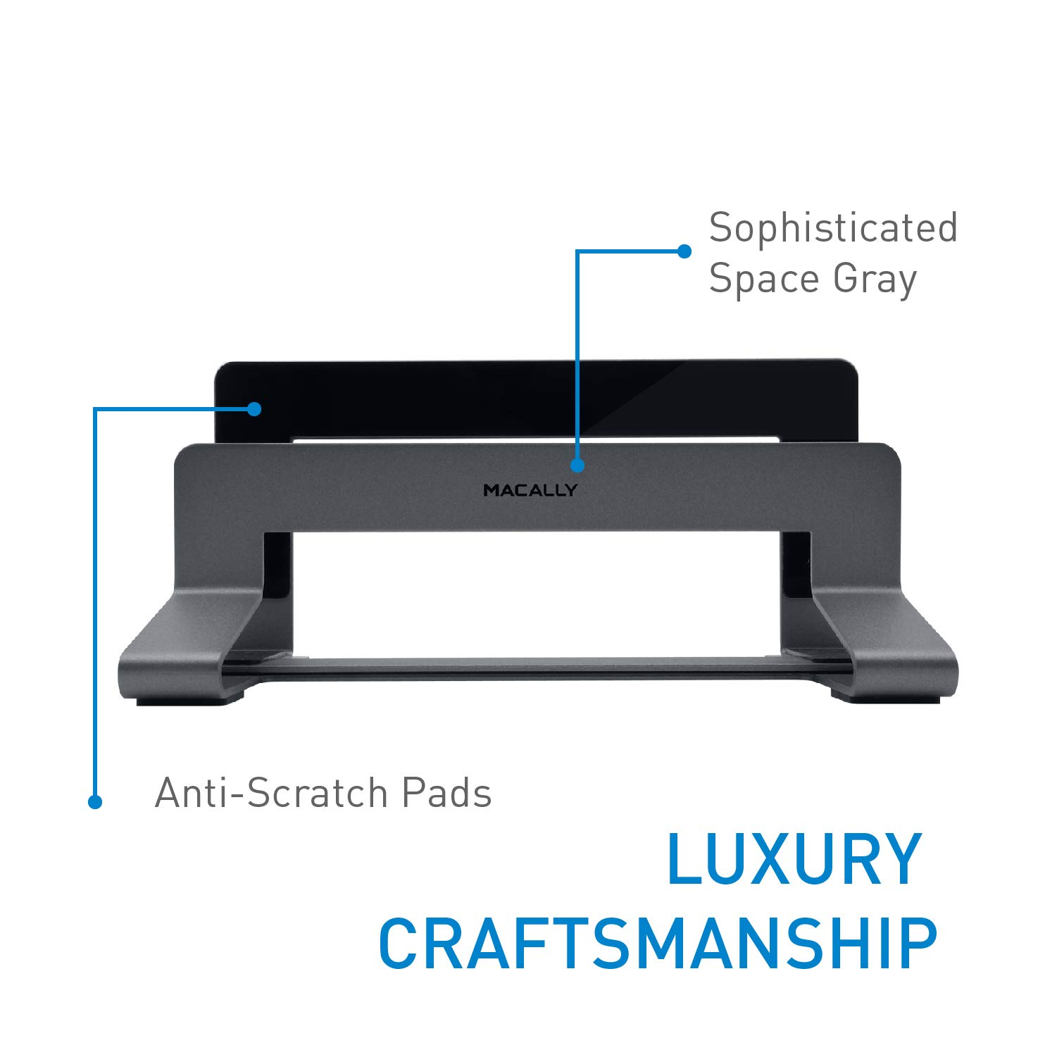 Macally Vertical Laptop Stand for Desk Space - Adjustable Vertical Stand Cradle - Laptop Holder - Apple MacBook Pro Air/Asus Chromebook Flip Samsung Notebook 9 Lenovo ThinkPad Dell XPS Acer Switch by Macally (Image #3)