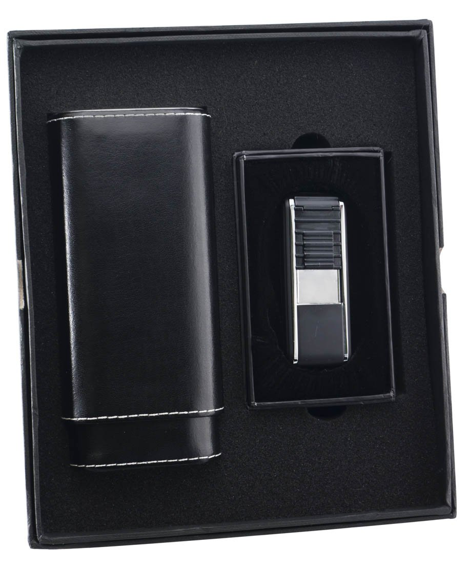 Visol ''Naturale'' and ''Track'' Cigar Case and Lighter Gift Set