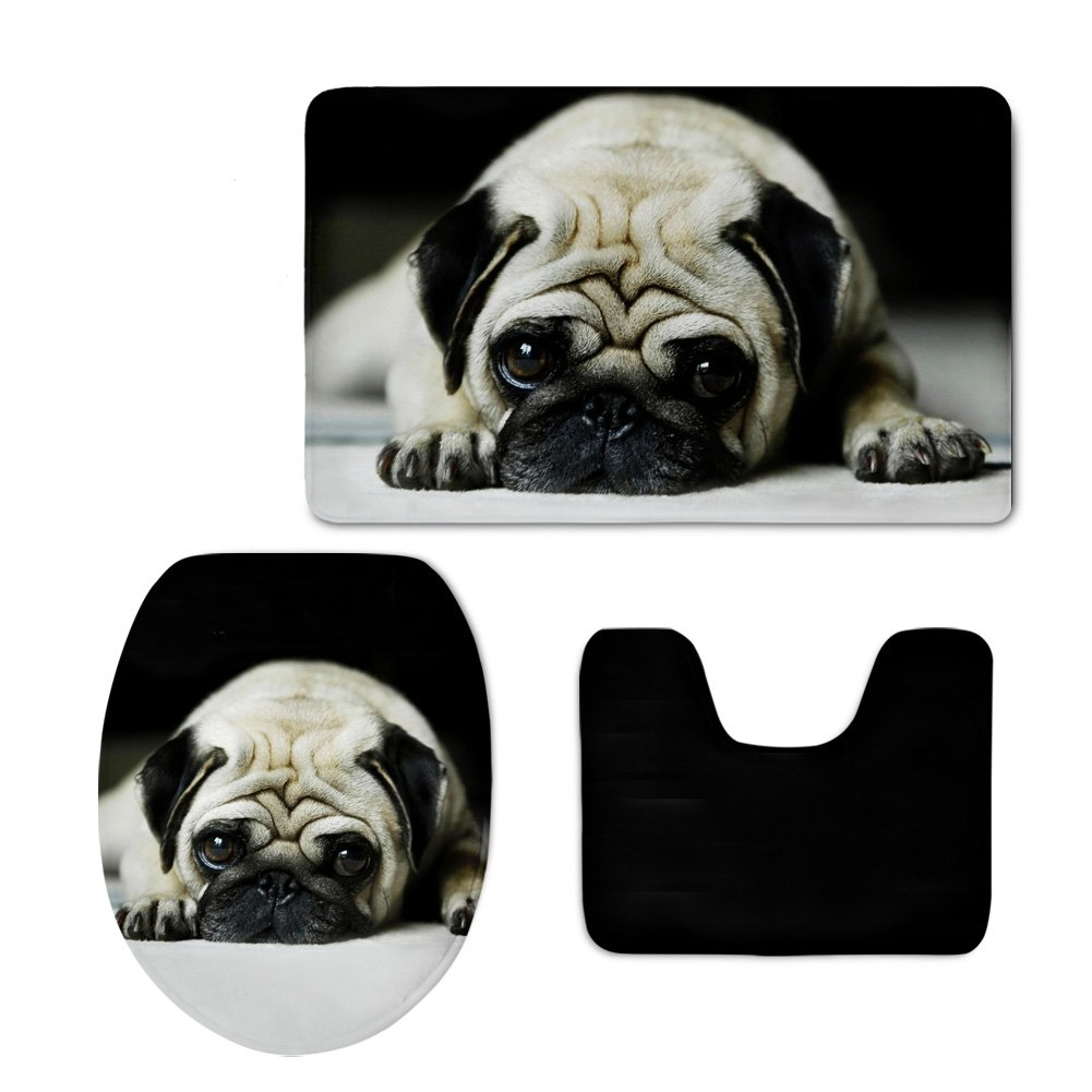Showudesigns Cute Grey Puppy Pug Dog Toilet Seat Cover Nonslip Welcome Mat