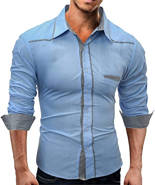 HhGold Camisa Negra para Hombre Slim Fit Top Casual Checked Plaid Manguito Manga Larga Cuello en V Botón Túnica Algodón Reino Unido Venta Polo Jersey Blusa XXL: Amazon.es: Hogar