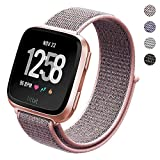 #2: PUGO TOP Fitbit Versa Watch Bands Loop Small Large, Adjustable Closure Wrist Replacement Fitness Sport WristBands Woven Nylon Velcro Band Straps For Fitbit Versa Fitness Smart Watch Women Men