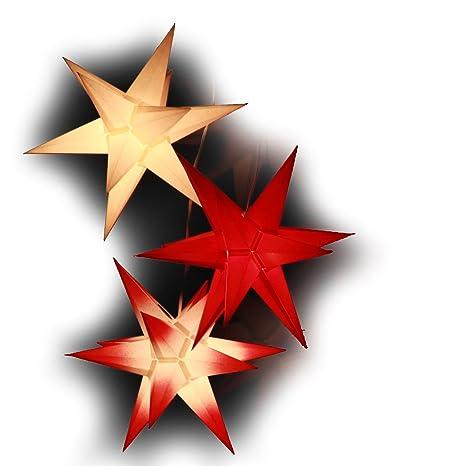 Papiersterne Weihnachtsbeleuchtung.3er Set Beleuchtete Papiersterne Rot Weiß Mix 3d Weihnachtssterne Handgefertigt 19cm Fürs Fenster Sternschmiede 319 Kompaktnetzteil