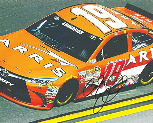 AUTOGRAPHED 2015 Carl Edwards #19 Arris Racing (Joe Gibbs Team) On-Track 8X10 Signed Picture NASCAR Glossy Photo with COA