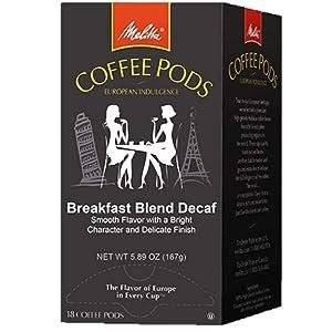 Melitta Coffee Pods, Breakfast Blend Decaffeinated Coffee, Light Roast, Single Cup, 18 Count