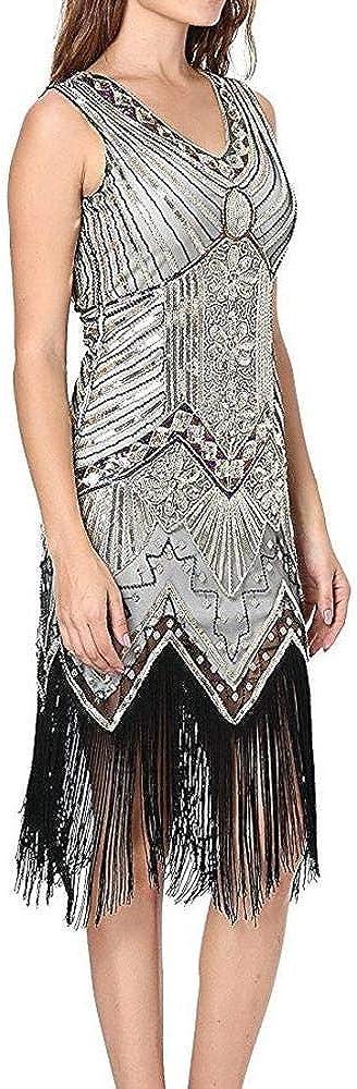 Frauen Retro V-Ausschnitt der 1920er Jahre Abendkleid Pailletten inspiriert Perlen Flapper Abend Prom Party Kleider mit Quaste