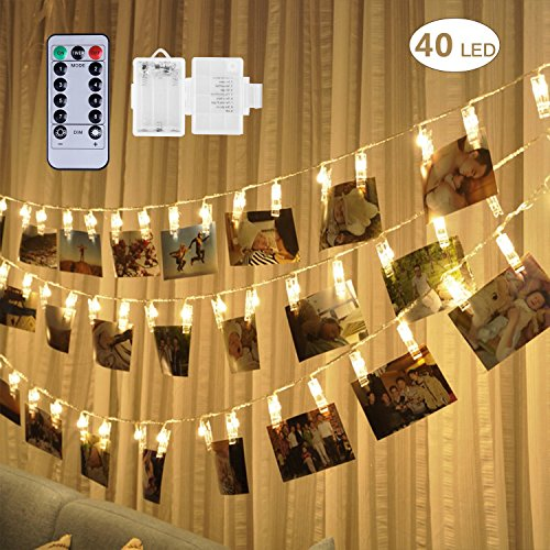 Adecorty 40 LED Photo Clip Lights - Photo Clips String Lights Battery Powered Fairy Lights with Remote & Timer, Hanging Lights for Christmas Cards Pictures Holder, Teen Girl Gifts for Bedroom Decor