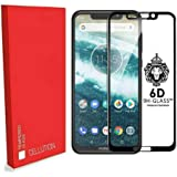 CELLUTION 6 D Tempered Glass with Curved Edges and 9H Hardness Full Glue Edge-to-Edge Screen Protection for Motorola Moto One Power (Black)
