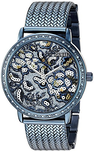 GUESS Women's U0822L3 Trendy Blue Watch with Blue Dial , Crystal-Accented Bezel and Mesh G-Link ()