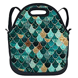 Mermaid Insulated Neoprene Sequins Lunchbox Backpack With Shoulder Strap