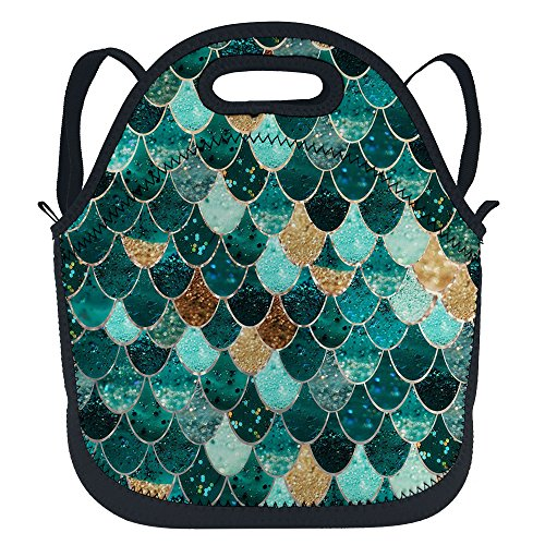 Price comparison product image oFloral Mermaid Insulated Neoprene Lunch Tote Bag Beautiful Mediterranean Sea Mermaid Sequins Lunchbox Backpack With Shoulder Strap For Boys Girls Women Glitter Green Yellow