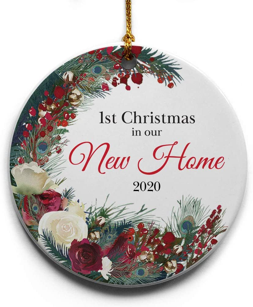 """1st Christmas in Our New Home Wreath Ceramic Christmas Tree Ornament Collectible Holiday Keepsake 2.875"""" Round Ornament in Decorative Gift Box with Bow-Perfect Housewarming Gifts for New Home!"""