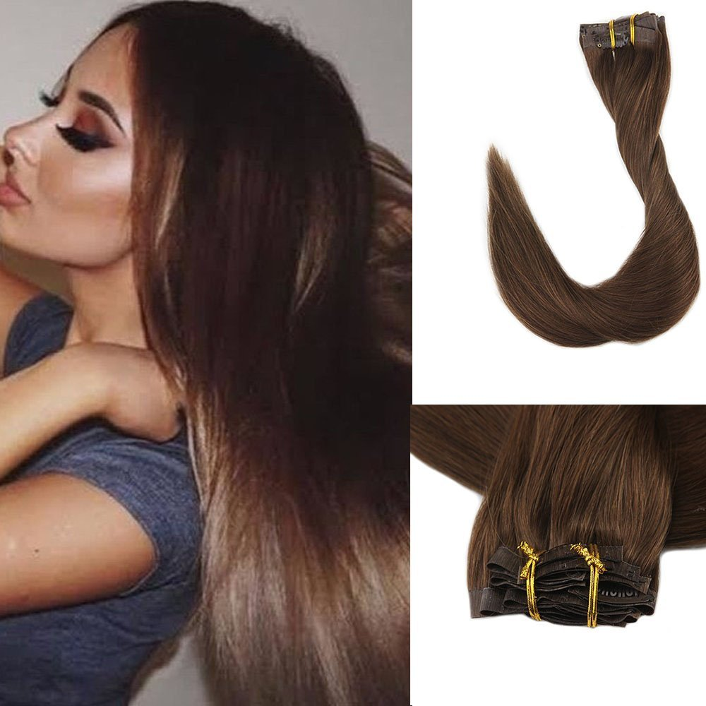 Full Shine 8 Pieces 16'' 120g Seamless Remy Clip on Hair Extensions Brown Clip in Hair Extensions Clip Real Human Hair Color #4 Remy Human Hair Full Head Extensions by Full Shine