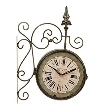 Vintage train station style wall clock with 2 faces front and