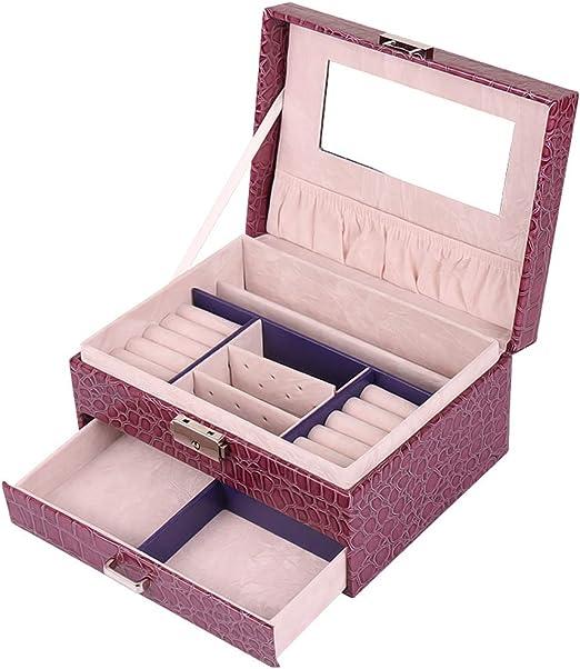 SKFG Caja Joyero Mujer Caja Joyas con Espejo Caja para Joyas joyero Caja de 4 Capas Almacenamiento Cuero de PU Caja Joyas para Collares/Aretes/Pulseras/Anillos/Pulsera Modelo PU173,Purple: Amazon.es: Hogar