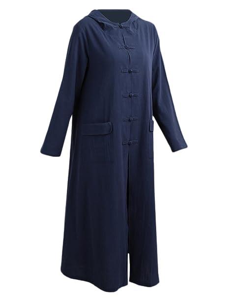 Mujeres Vendimia Ropa Tallas Grandes Vestidos Maxi Vestido Suelto De Algodón con Capucha: Amazon.es: Ropa y accesorios