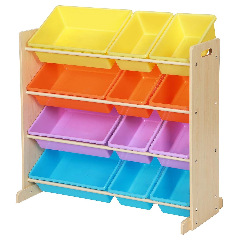 SONGMICS Kinderzimmerregal, Spielzeug-Organizer mit 12 herausnehmbaren Aufbewahrungsboxen, aus Kunststoff, Spielzeug- und Bücherregal fürs Kinderzimmer, Rahmen mit Füßen, in Ahornfarbe GKR04YL