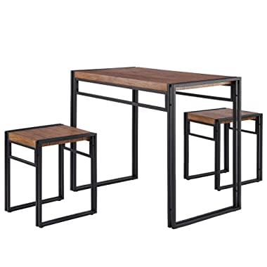 FIVEGIVEN 3 Piece Dining Table Set for Small Spaces Kitchen Table Set for 2 Rustic Industrial Brown