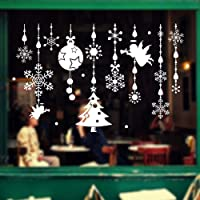 TONVER Christmas Wall Stickers, DIY Creative Cartoon Art Craft Picture Peel and Stick Self-adhesive Wallpaper Wall Decor Christmas Festive Window Sticker for Home