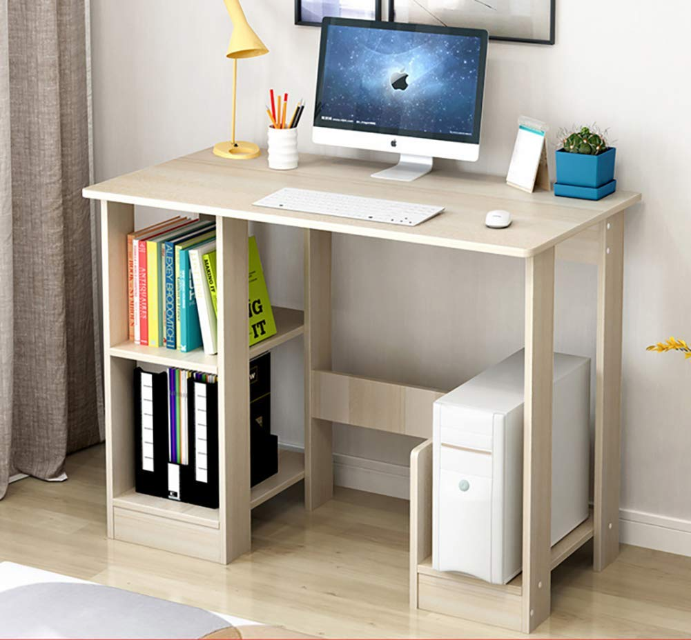 F 90x40x70cm(35x16x28in) Computer Desk for Small Spaces,Computer Table Pc Laptop Table Modern Studio Desk Retro Student Desk Wood Shelves Workstation-D 80x40x70cm(31x16x28in)