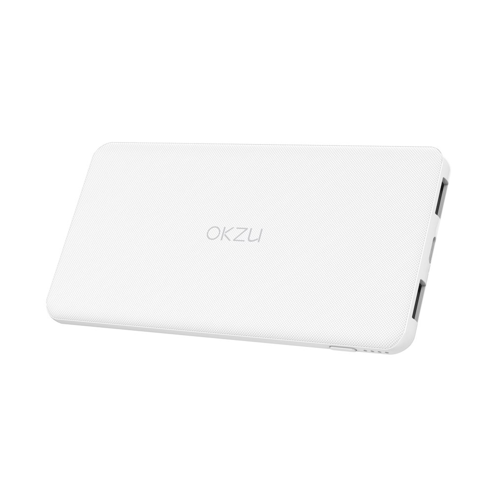 OKZU 5000mAh Ultra Slim, Lightweight Portable Charger,External Battery Pack with USB Type-C Input & Output for iPhone, Samsung, Nexus and More (White)