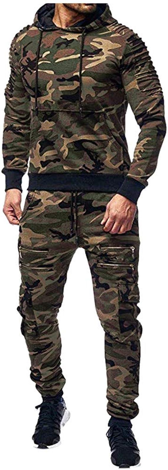 Mens Tracksuit Set Camouflage Sweatshirt Jogger Sweatpants Solid Patchwork Camo Warm Sportswear