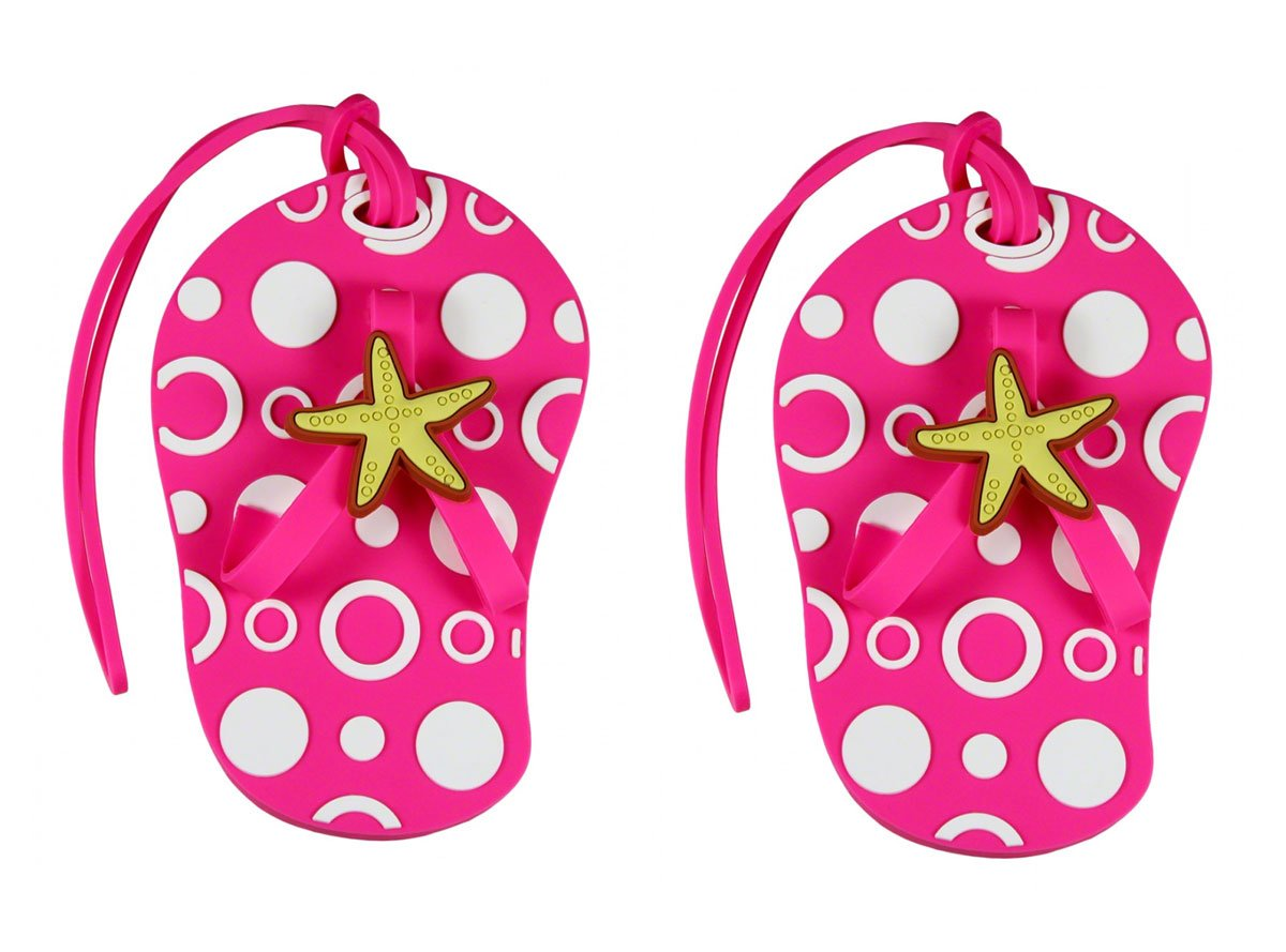 Pink Beach Themed Flip Flop Luggage Tags (Set of 2) by Fashioncraft (Image #2)