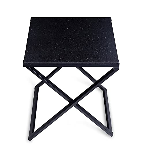 Olee Sleep Galaxy Granite Top Dura Metal Frame Coffee Table Tea Table End Table Side Table Office Table Computer Table Vanity Table Dining Table, Black