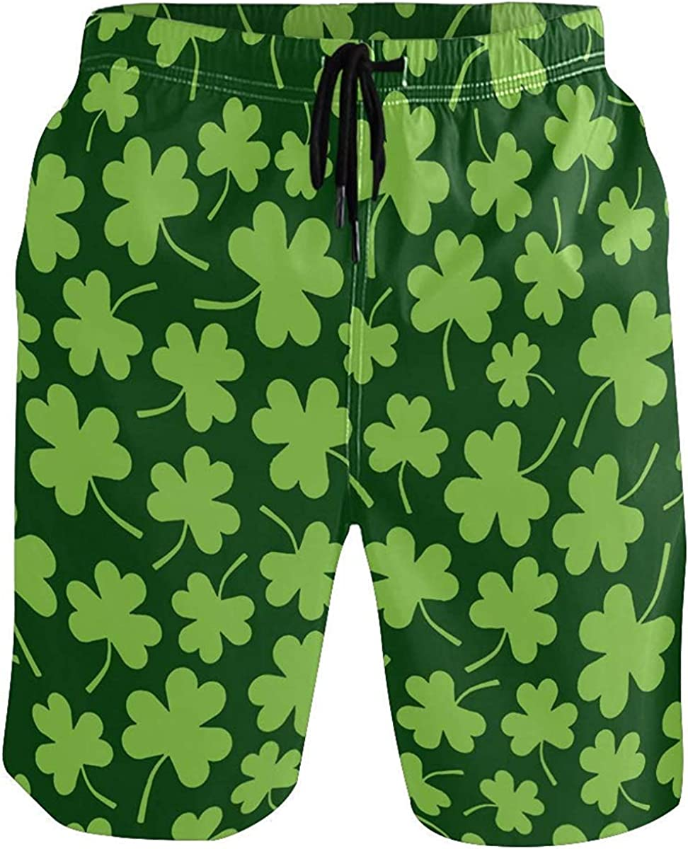 Ontwiesy Green Shamrock Clover Mens Beach Shorts Swimming Trunks Quick Dry Boardshorts with Pockets Mesh Lining