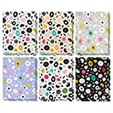 12 Pack Pocket Folders - Letter Size File Folders with 2 Pockets - 6 Abstract Floral Designs - Perfect for Staying Organized at School or Home - 9.25 x 12 Inches