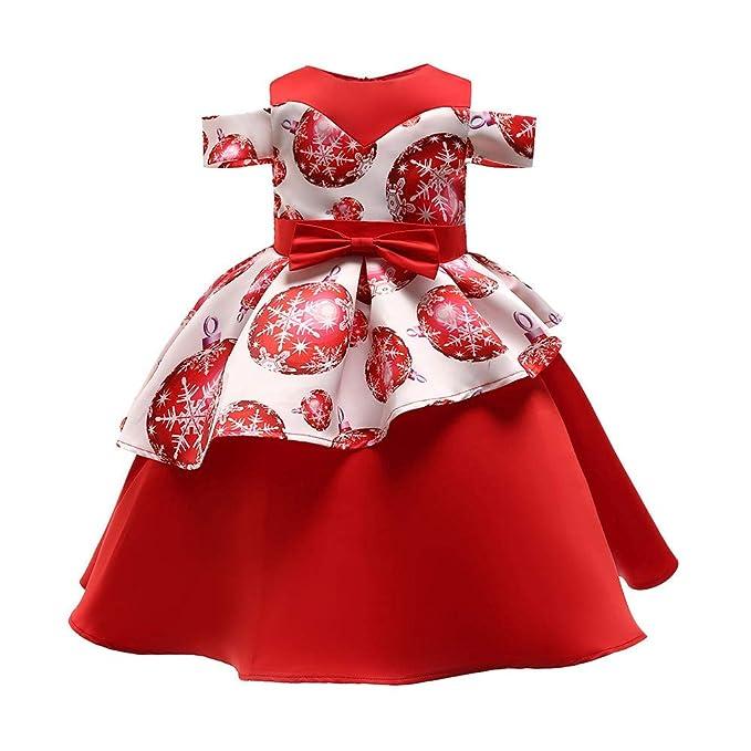 POLP Niño Navidad Niña Vestido de Princesa de Papá Noel con Estampado Navidad Bebe Ropa Disfraz Bebe Navidad Regalo de Papá Noel de Una Hombro Bebe ...