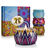 Scented Candles, YINUO LIGHT Christmas Gift Sets, Citronella Indoor Candles, Aromatherapy Set of Natural Soy Wax 22 Oz, 15 Hour Burn Time Per Candle, Perfect for Women Bath Yoga Birthday Outdoors - Set of 4