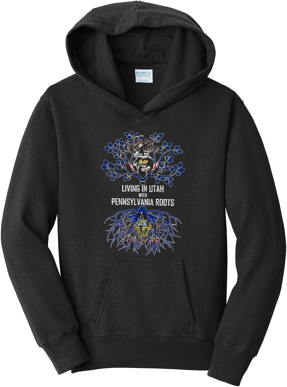Tenacitee Girls Living in Utah with Pennsylvania Roots Hooded Sweatshirt