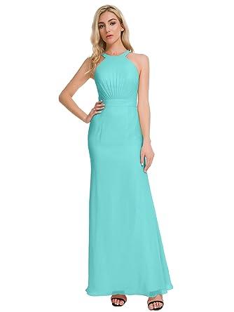 4182bdbd125 Alicepub Chiffon Bridesmaid Dresses Halter Long Maxi Prom Evening Gowns for  Women