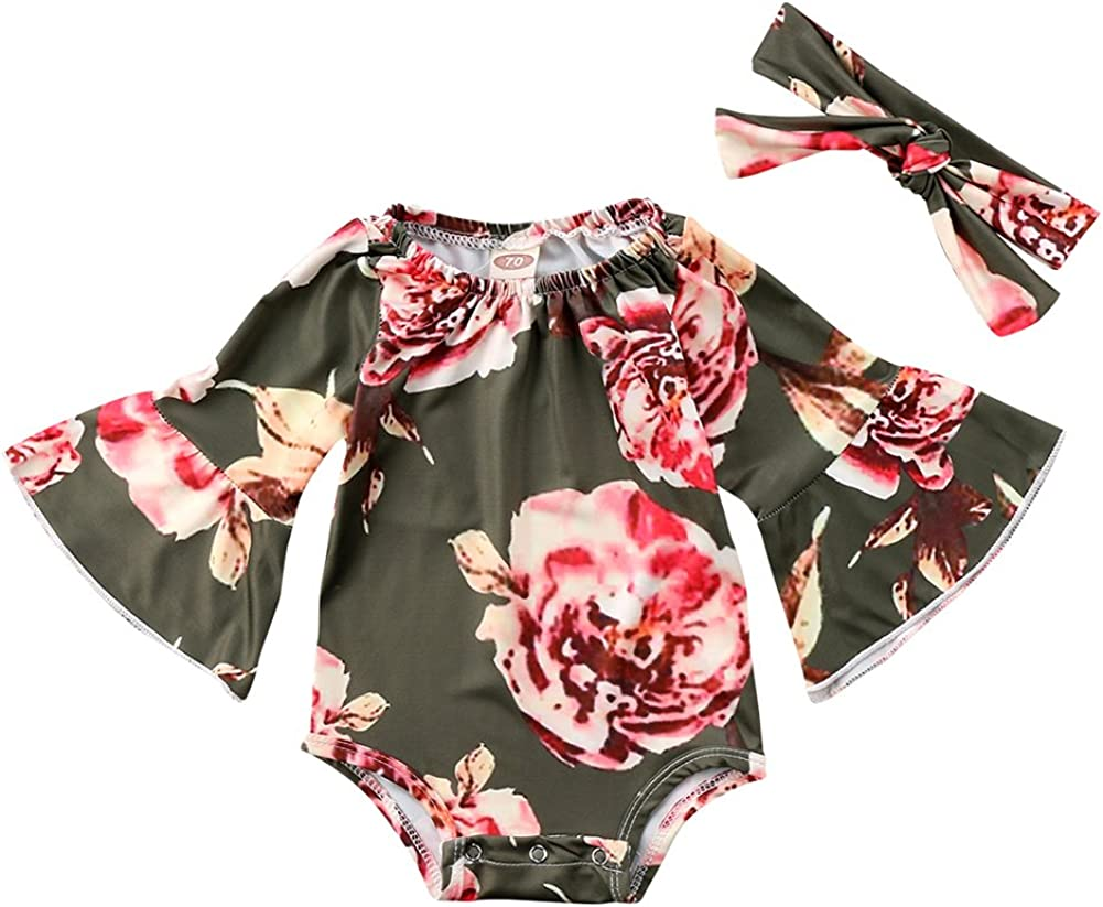 Newborn Baby Girl Floral Bodysuit+Headnband 2pcs Summer Flare Sleeve Fashion Jumpsuit 0-24Months