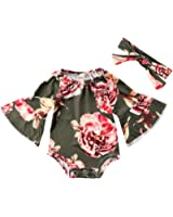 Ma&Baby Newborn Baby Girl Floral Bodysuit+Headnband 2pcs Summer Flare Sleeve Fashion Jumpsuit 0-24Months