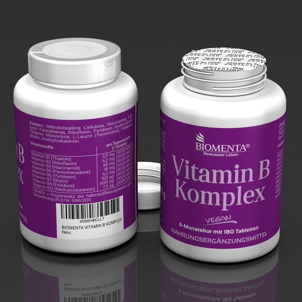 biomenta Vitamina Complejo B 180 VEGANO vitamin-b-tabletten Tiamina, Riboflavina, Niacina, vitamina B5, pyridoxin, Biotina, Ácido Fólico & cobalamina (B12 ...
