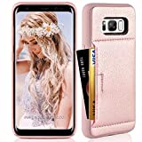Samsung S8 Wallet Case, Galaxy S8 Case, ZVE Samsung Galaxy S8 Case with Credit Card Holder Leather Slim Wallet Shockproof Protective Case Cover for Samsung Galaxy S8 5.8 inch 2017 (Rose Gold)