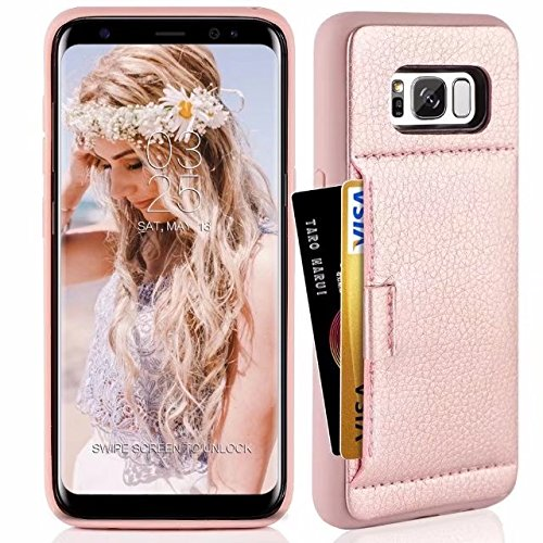 Samsung S8 Wallet Case, Galaxy S8 Case, ZVE Samsung Galaxy S8 Case with Credit Card Holder Leather Slim Wallet Shockproof Protective Case Cover for Samsung Galaxy S8 5.8 inch 2017 (Rose Gold) by ZVE