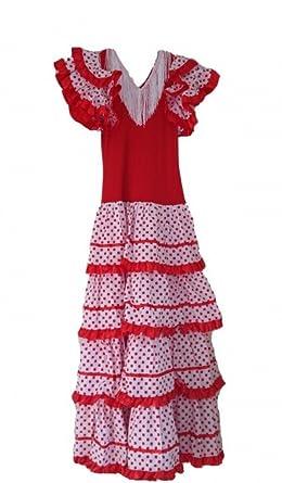 099881afeb8d6 La Senorita Spanish Flamenco Dress - Girls / Kids - Red / White - Size 22 -  Length 125 cm, 49 inch: Amazon.co.uk: Clothing