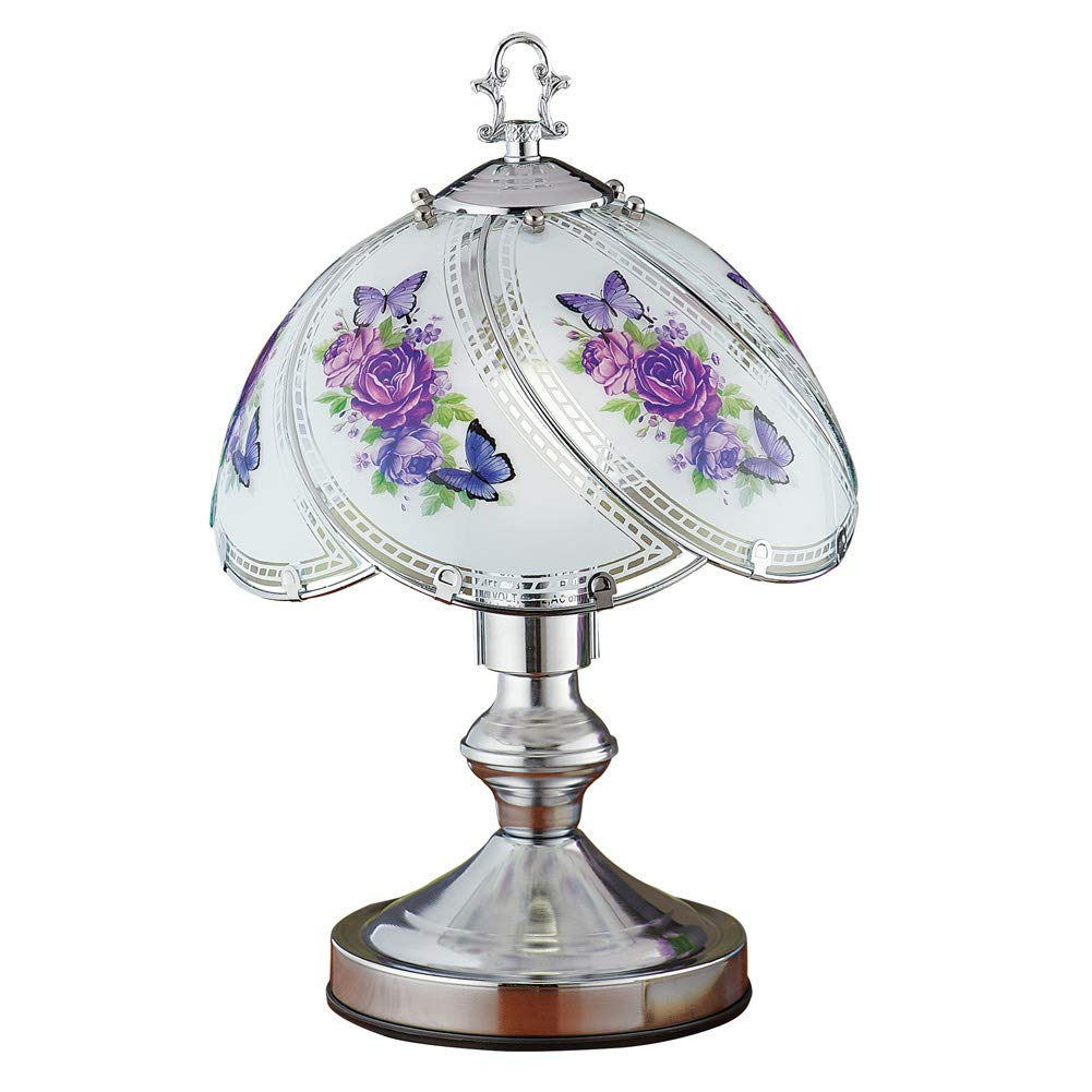 Purple Floral Touch Lamp with Silver-Tone Base - Decorative Light for Any Room in Home